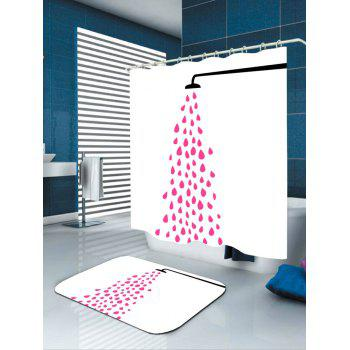 Sprinkle Sprinklling Water Patterned Bath Curtain - PINK W71 INCH * L79 INCH