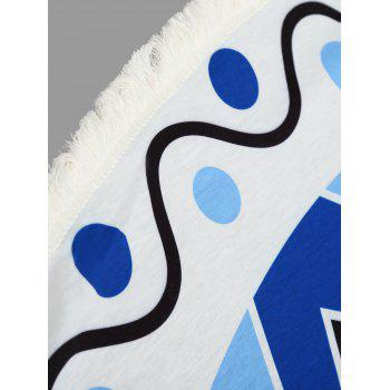 Geometric Polka Dot Fringed Beach Throw - BLUE BLUE