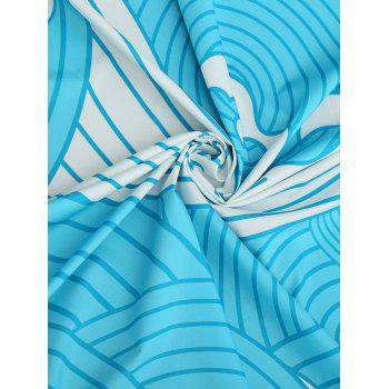 Wave Print Fringed Round Beach Throw - BLUE ONE SIZE