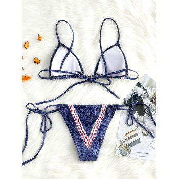 String Denim Print Micro Bikini Set - BLUE L
