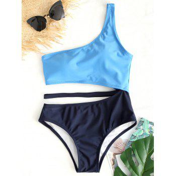 Two Tone Cut Out One Shoulder Swimsuit - BLUE BLUE