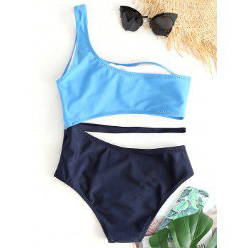 Two Tone Cut Out One Shoulder Swimsuit - BLUE S