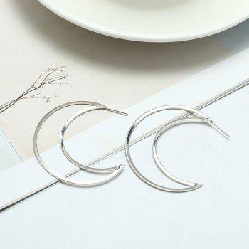Moon Design Drop Earrings - SILVER