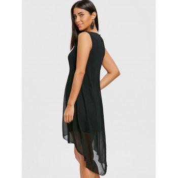 Crochet Trim High Low Chiffon Dress - BLACK M