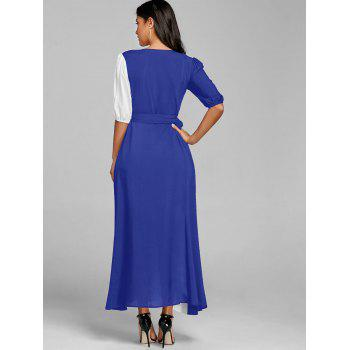Color Block Puff Sleeve High Slit Maxi Dress - BLUE S