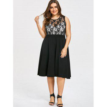 Plus Size Sleeveless Lace Trim Dress - BLACK BLACK