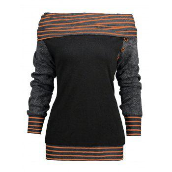 Stripe Trim Raglan Sleeve Skew Neck T-shirt - YELLOW ORANGE XL