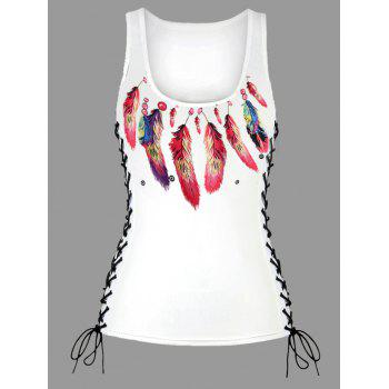 Feather Print Lace Up U Neck Tank Top - RED RED