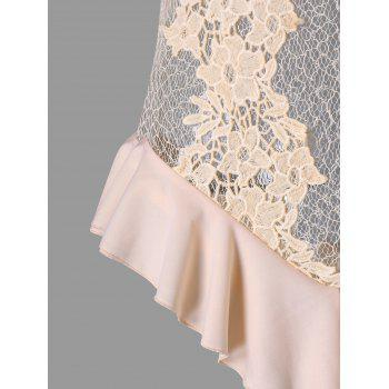 Valentine See Through Crochet Lace Lingerie Teddy - PINK M