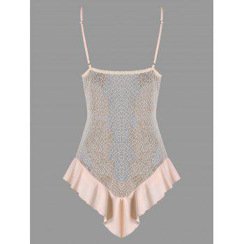 Valentine See Through Crochet Lace Lingerie Teddy - PINK L