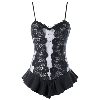 Valentine Flounce Trim See Through Lingerie Teddy - BLACK M