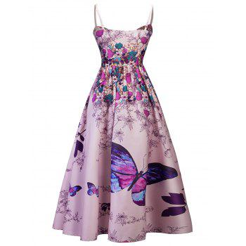 Spaghetti Strap Printed Long Party Dress - PINKISH PURPLE S