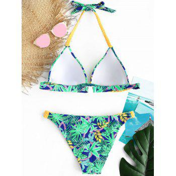 Braided Straps Print String Bikini Set - BLUE GREEN XL