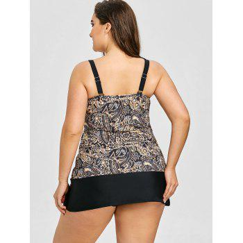 Tropical Leaf Print Plus Size Tankini Set - BLACK 3XL