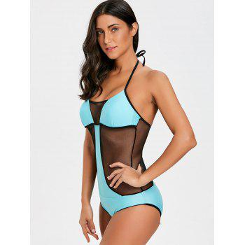 One Piece Two Tone Fishnet Panel Swimsuit - LAKE GREEN S