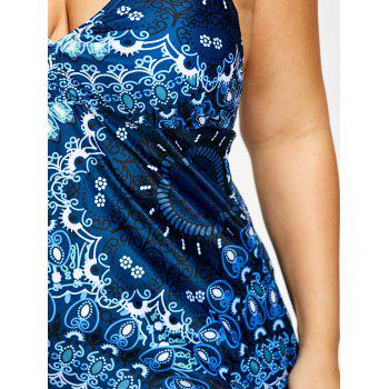 Plus Size Asymmetric Halter Paisley Tankini Set - COLORMIX 3XL