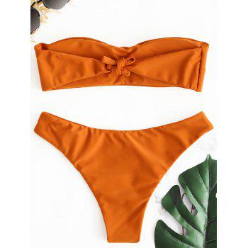 Bandeau Thong Low Waist Bikini Set - BRIGHT ORANGE M