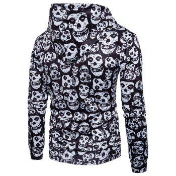 Kangaroo Pocket Skulls Print Hoodie - WHITE/BLACK XL