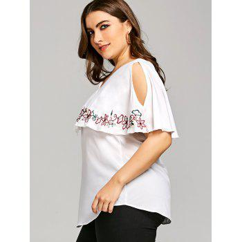Plus Size Embroidery V Neck Overlay Blouse - WHITE 3XL