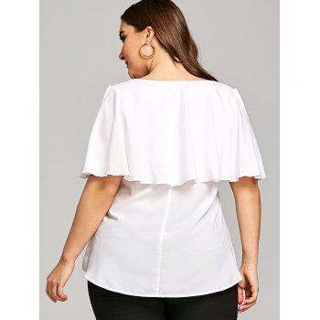 Plus Size Embroidery V Neck Overlay Blouse - WHITE XL