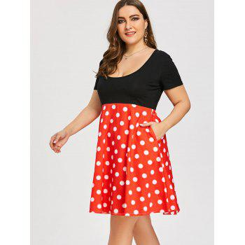 Plus Size Polka Dot Print 1950s Dress - RED 5XL