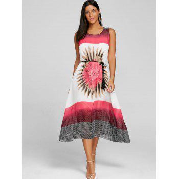 Bohemian Floral Midi A Line Dress - WHITE XL