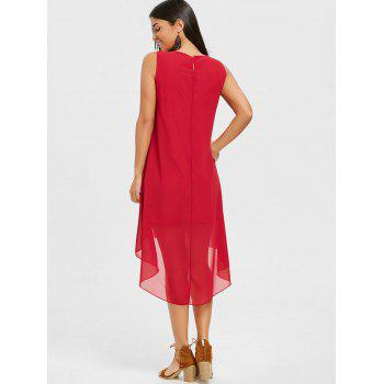 Crochet Trim High Low Chiffon Dress - WINE RED S