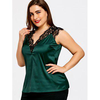 Plus Size V Neck Eyelash Lace Panel Tank Top - BLACKISH GREEN XL