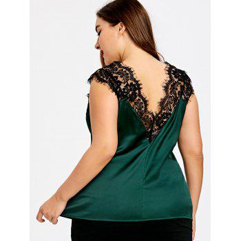 Plus Size V Neck Eyelash Lace Panel Tank Top - BLACKISH GREEN 2XL