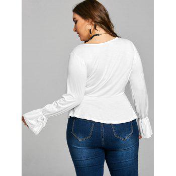 Plus Size Bell Sleeve Plunge Tee - WHITE 5XL