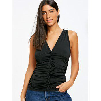 V Neck Strappy Tank Top - BLACK M