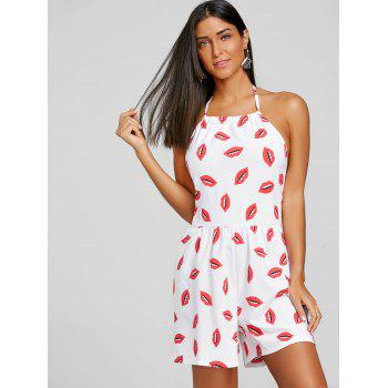 Halter Lip Print Open Back Romper - WHITE L