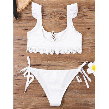 Lace Up U Neck Bikini - WHITE L
