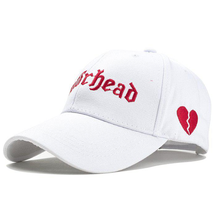 Unique Broken Heart Embroidery Decorated Baseball Hat - WHITE