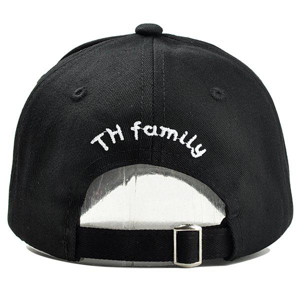 Unique 19-90 Pattern Embroidery Adjustable Sunscreen Hat - BLACK