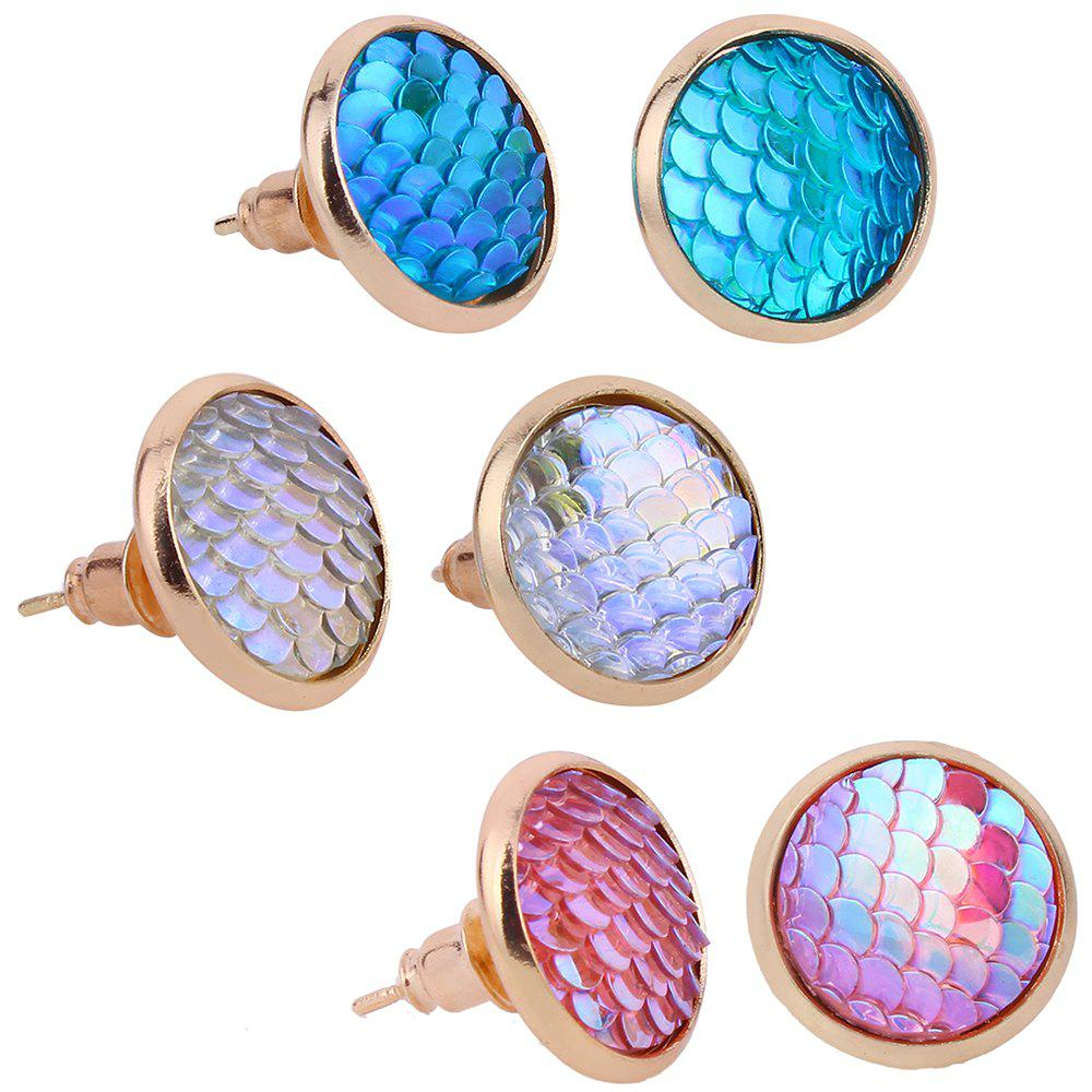 Colorful Scale Embellished Alloy Round Stud Earrings Set - COLORFUL