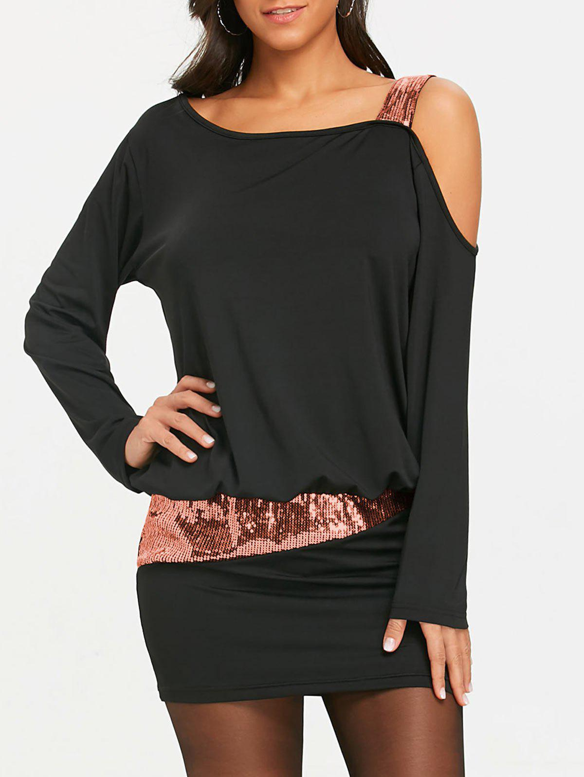 Sequins Long Sleeve Cold Shoulder Blouson Dress - BLACK/PINK XL