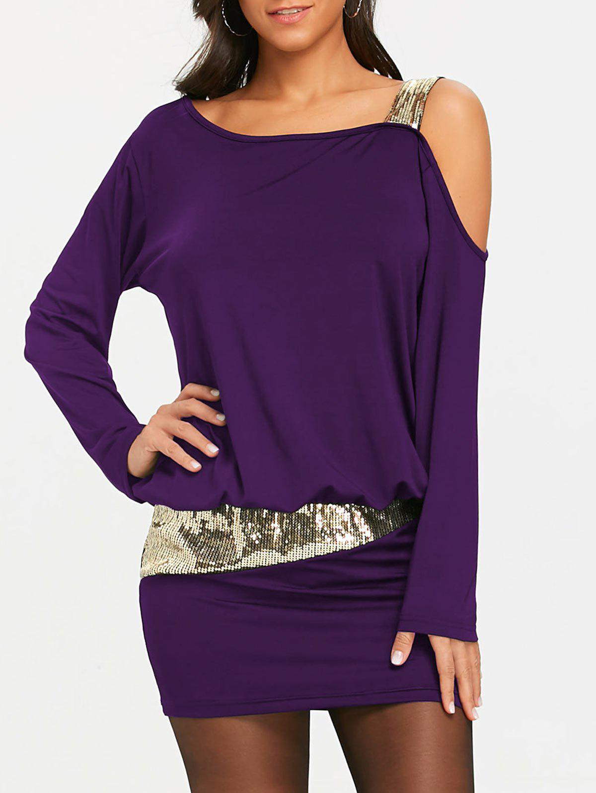 Sequins Long Sleeve Cold Shoulder Blouson Dress - PURPLE L