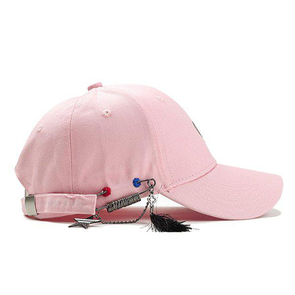 Unique Letter Embroidery Fringed Snapback Hat - PINK