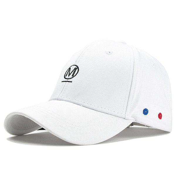 Unique Letter Embroidery Fringed Snapback Hat - WHITE