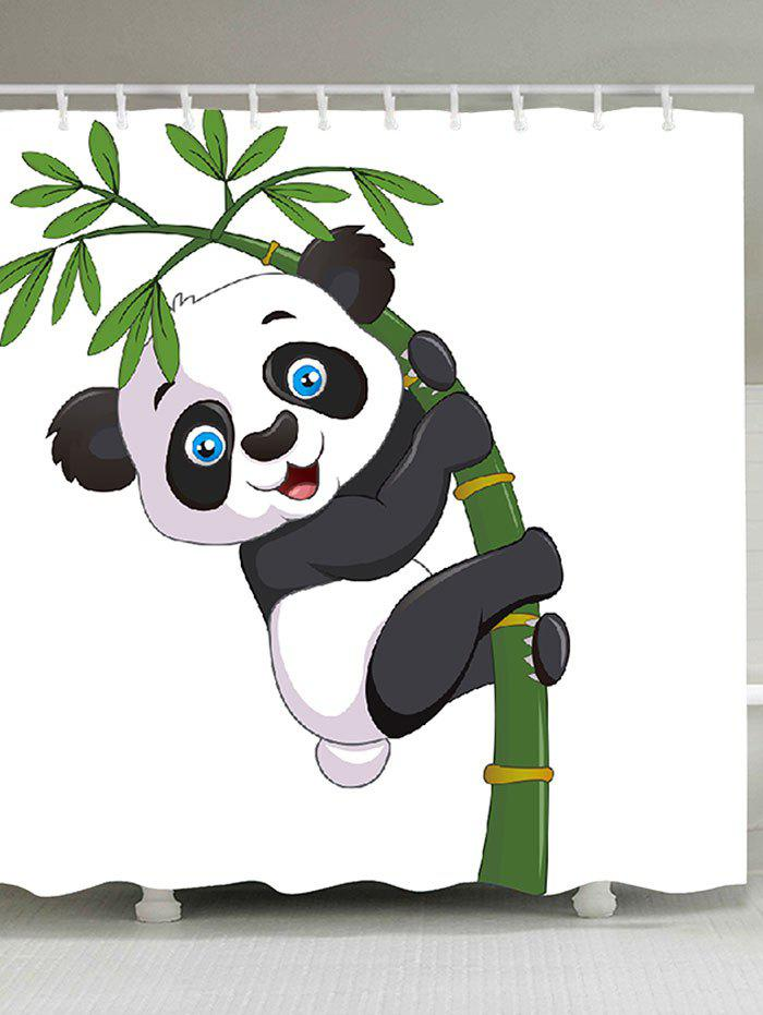 Adorable Panda Hugging Bamboo Patterned Bath Curtain - BLACK WHITE W59 INCH * L71 INCH