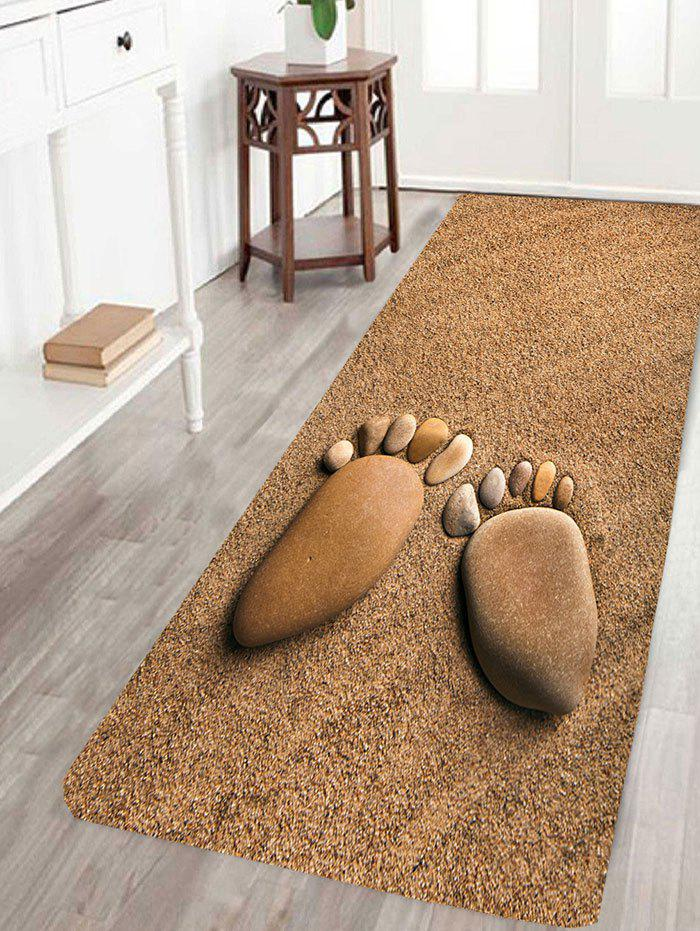 Cobblestone Footprint Beach Print Floor Area Rug - BROWN W16 INCH * L47 INCH