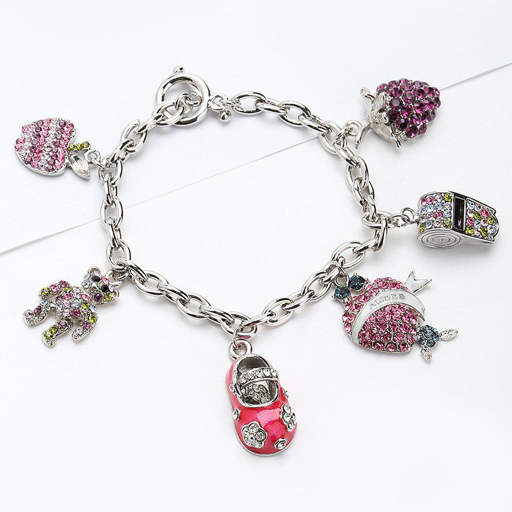 Rhinestone Whistling Grape Bear Charm Bracelet - PINK