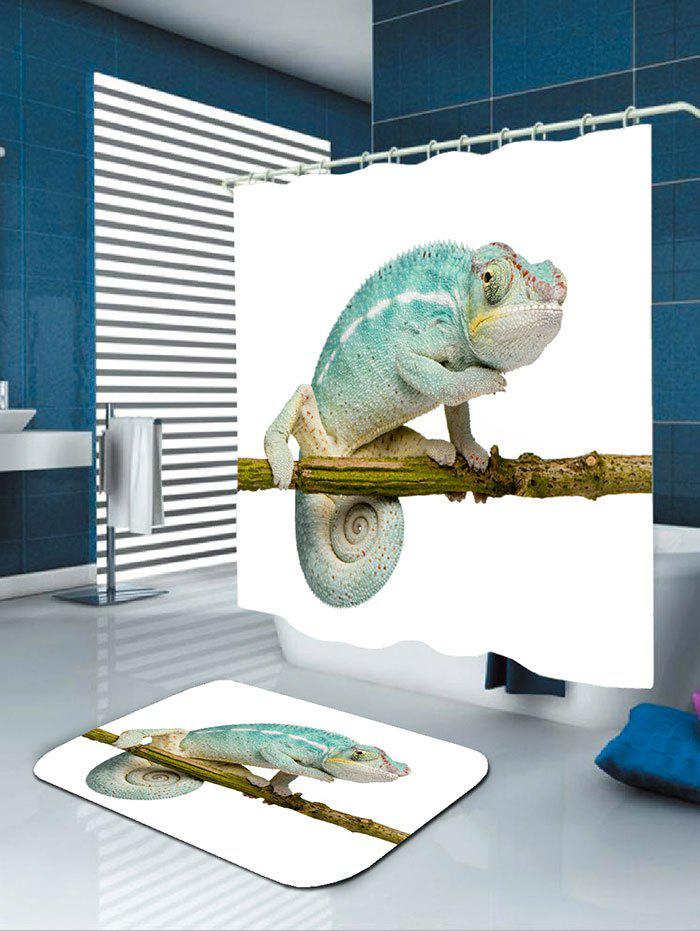 Chameleon Stand on the Tree Printed Bath Curtain - COLORFUL W71 INCH * L79 INCH