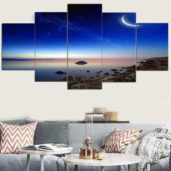 Starry Moonlight Scenery Pattern Canvas Paintings - BLUE 1PC:12*31,2PCS:12*16,2PCS:12*24 INCH( NO FRAME )