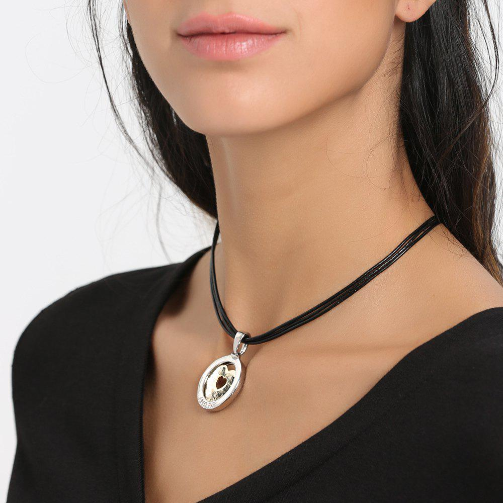 Faux Leather Rope Round Heart Collarbone Necklace - BLACK