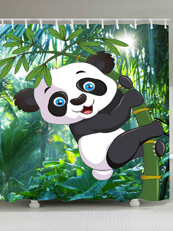 Cartoon Panda Hugging Bamboo Printed Bath Curtain - GREEN W71 INCH * L79 INCH