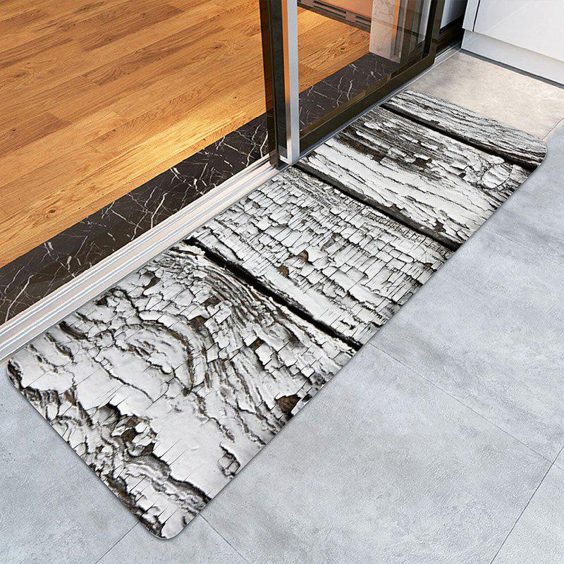 Rotten Old Wood Print Indoor Outdoor Area Rug - GREY WHITE W24 INCH * L71 INCH