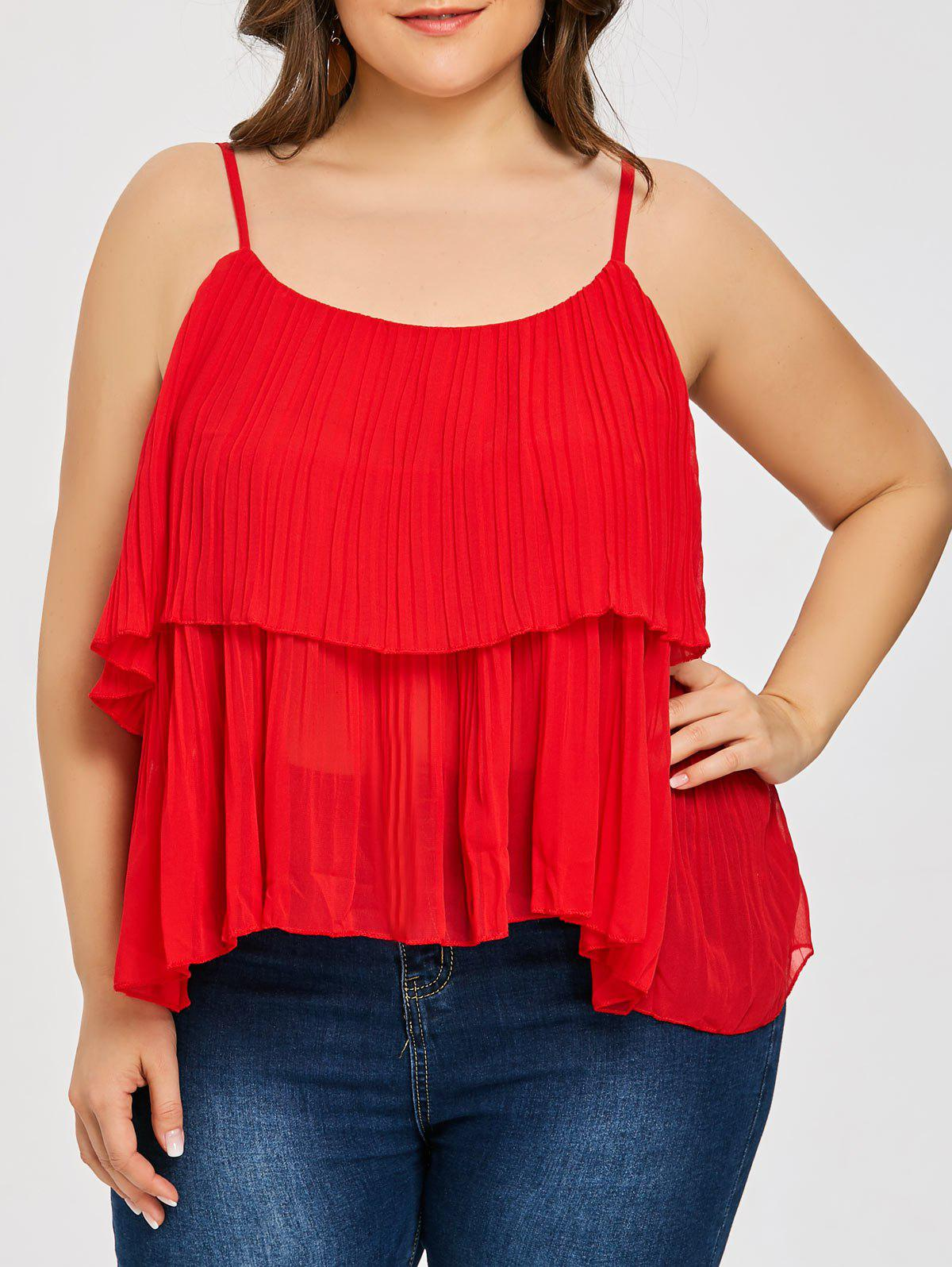 Plus Size Tiered Pleated Cami Tank Top - RED 4XL