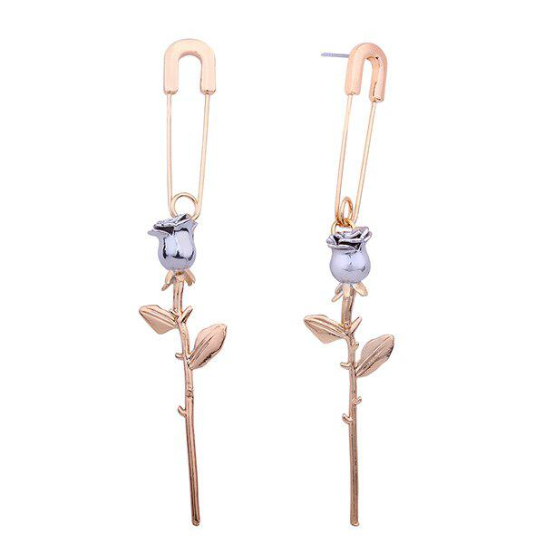 Creative Roses Pin Shape Stud Drop Earrings - GOLDEN